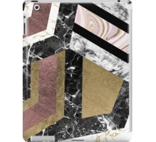 Abstract chic faux rose gold black white marble  iPad Case/Skin