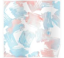 Pastel coral teal modern watercolor paint brushstrokes Poster