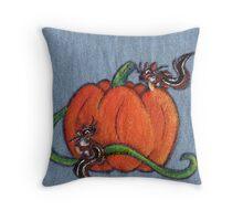 Pumpkin Patch Chipmunks Throw Pillow