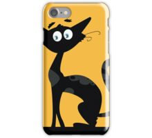 Black cat. Black silhouette of cat isolated on color background iPhone Case/Skin