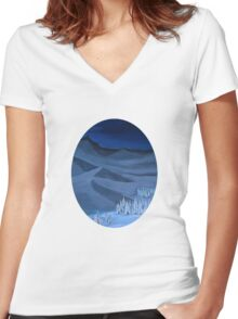 Late night on the mountain Women's Fitted V-Neck T-Shirt
