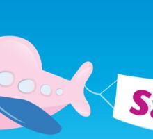 Flight sale! Flying Airplane with promotional banner Sticker