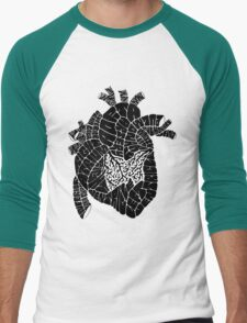 Typographic heart -black Men's Baseball ¾ T-Shirt