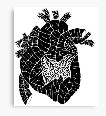 Typographic heart -black Canvas Print