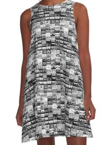 black and white tape illustration  A-Line Dress