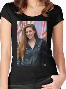 Portrait of a young woman Women's Fitted Scoop T-Shirt