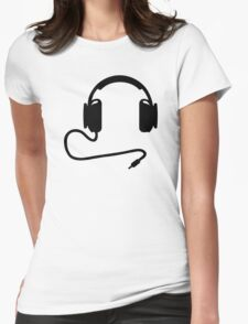 Headphones cable Womens Fitted T-Shirt