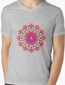RED OM MANDALA Mens V-Neck T-Shirt