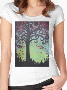 Swirly Tree Left Women's Fitted Scoop T-Shirt