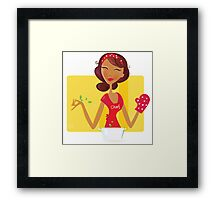 Sexi woman chef. Sexi woman is preparing dinner in the kitchen Framed Print
