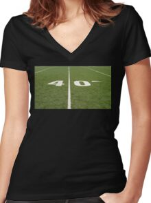Football Field Forty Women's Fitted V-Neck T-Shirt