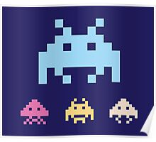 Space Invaders. Illustration of space aliens. Vector format. Poster