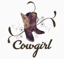 Cowgirl with Boots Kids Tee
