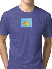 Gold cartoon fish. Gold yellow cartoon fish. Vector Illustration. Tri-blend T-Shirt