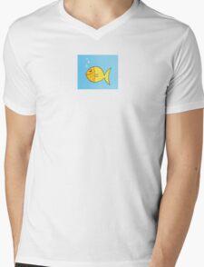 Gold cartoon fish. Gold yellow cartoon fish. Vector Illustration. Mens V-Neck T-Shirt