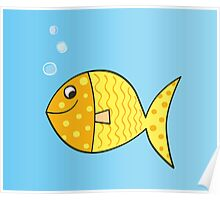 Gold cartoon fish. Gold yellow cartoon fish. Vector Illustration. Poster
