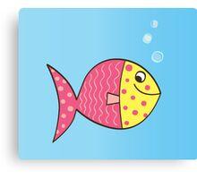 Cartoon Fish. Cute colorful fish Canvas Print