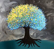 Blue and Gold Pouf Tree by artbybutterfly