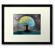 Blue and Gold Pouf Tree Framed Print