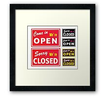 Open and Closed store signs. Come in or we are actually closed Framed Print