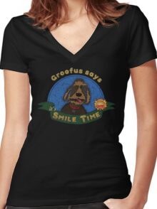 Groofus says it's SMILE TIME Women's Fitted V-Neck T-Shirt