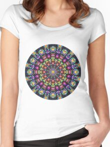 COLORFUL PSYCHEDELIC MANDALA Women's Fitted Scoop T-Shirt
