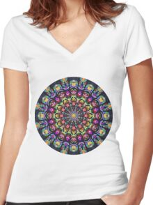 COLORFUL PSYCHEDELIC MANDALA Women's Fitted V-Neck T-Shirt