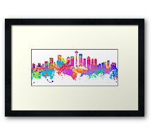 Watercolor art print of the skyline of Seattle United States Framed Print