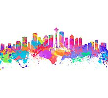 Watercolor art print of the skyline of Seattle United States Photographic Print