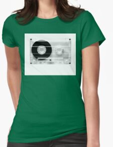 cassette  illustration - black and white tape  Womens Fitted T-Shirt