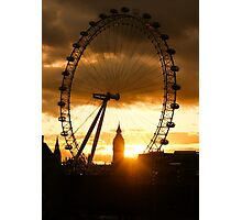 Framing the Sunset in London - the London Eye and Big Ben  Photographic Print
