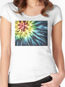 Abstract Dark Tie Dye Women's Fitted Scoop T-Shirt