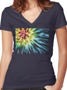 Abstract Dark Tie Dye Women's Fitted V-Neck T-Shirt