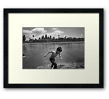 Angkor Wat Swim - Angkor Wat, Cambodia Framed Print