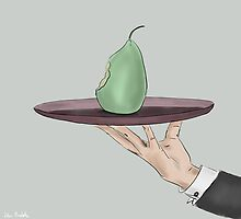 Waiter's Hand Serving an Eaten Pear on a Tray by ibadishi