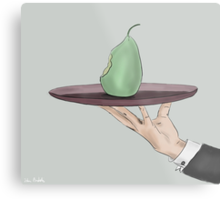 Waiter's Hand Serving an Eaten Pear on a Tray Metal Print