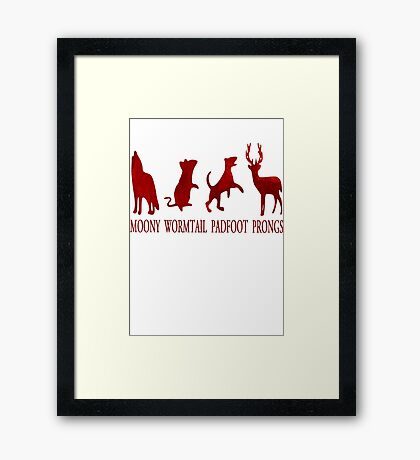 Moony, Wormtail, Padfoot and Prongs Framed Print