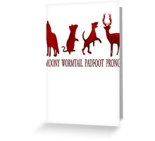 Moony, Wormtail, Padfoot and Prongs Greeting Card
