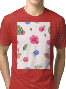 Hibiscus and dots Tri-blend T-Shirt