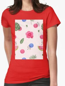 Hibiscus and dots Womens Fitted T-Shirt