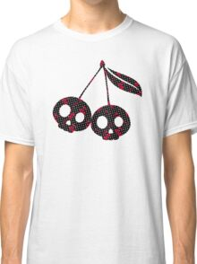 Dots with Cherry Skulls - Black Red Classic T-Shirt