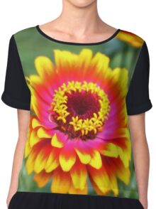 Bright Zinnia Flower  Chiffon Top