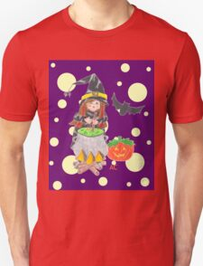 Halloween witch 1 on a fun purple background Unisex T-Shirt