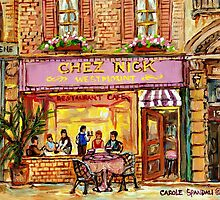MONTREAL CAFES CHEZ NICK'S RESTAURANT MONTREAL CITY SCENES by Carole  Spandau