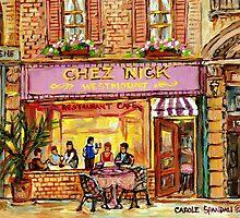 MONTREAL CAFES CHEZ NICK'S RESTAURANT MONTREAL CITY SCENES by Carole  Spandau