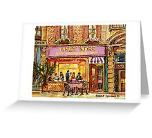 MONTREAL CAFES CHEZ NICK'S RESTAURANT MONTREAL CITY SCENES Greeting Card
