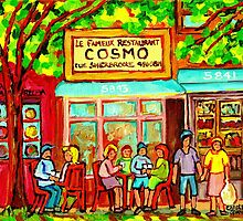 COSMOS RESTAURANT MONTREAL GREASY SPOON CITY SCEN PAINTING by Carole  Spandau