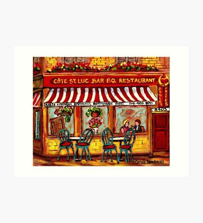 SIDEWALK CAFE MONTREAL ROTISSERIE COTE ST. LUC BBQ Art Print