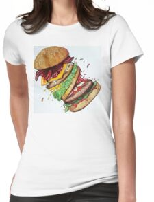 Falling Burger Womens Fitted T-Shirt