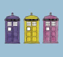 Watercoloured-Multi-Coloured TARDISes. T-Shirt